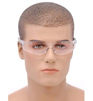 Scratch Resistant Clear Lens Riding Glasses w/Rubberized Temples #SG30802C