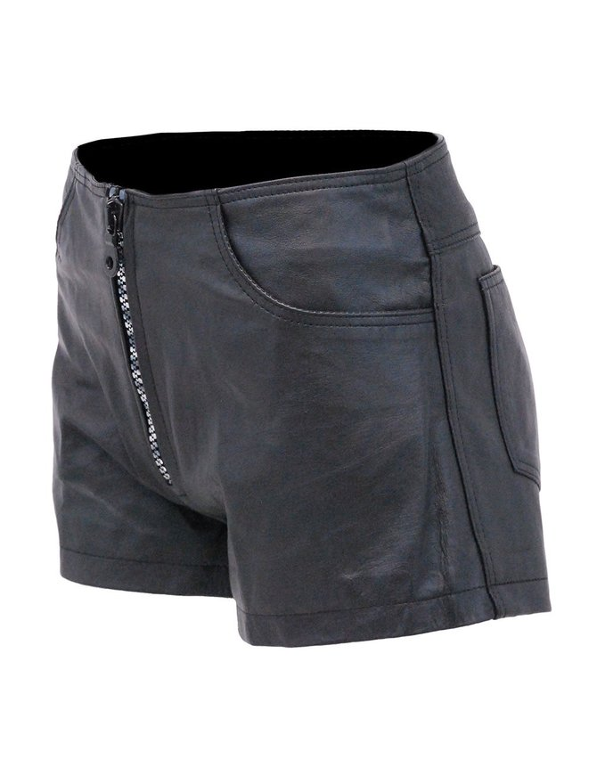 Black Leather Silver Zipper Shorts with Pant Pockets #SH1122K