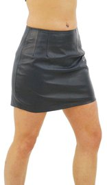 "Jamin Leather Mini Skirt - 15"" Long Lambkin Leather Skirt #SK15"