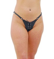 Jamin Leather Black Genuine Leather Lace Up Thong #UGT604LK