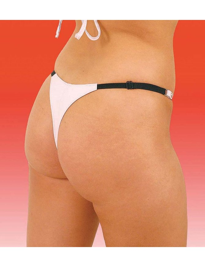 Jamin Leather Snap Away White Leather Thong #UGT8093W