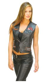 Women's Patched Lady Rider Leather Vest #VL0891P9P