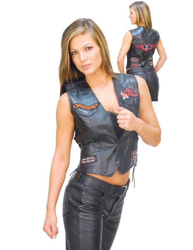 Women's Patched Lady Rider Leather Vest #VL0891P9P