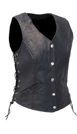 Women's Classic Side Lace Leather Vest CCW #VL1048LSP