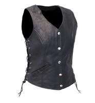Women's Classic Side Lace Leather Vest CCW #VL1048LSP