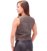 Jamin Leather Vintage Brown Basic Leather Vest for Women #VL1225N