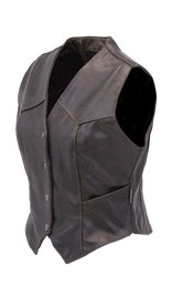 Classic Dark Brown Womens Leather Vest #VL1226DN