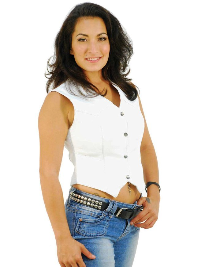 Jamin Leather Long Ladies White Leather Vest #VL1227W