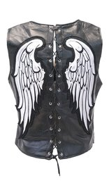 Lace Back Wing Patch Leather Zip Vest #VL1289WING