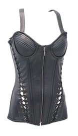 Vance Extra Long Side Lace up Zip Front Leather Corset w/Ribbed Cups #VL1340LZK