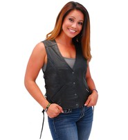 Jamin Leather Women's Premium Low V-Neck Side Lace Leather Vest #VL16010GK