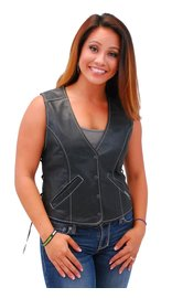 Jamin Leather Women's Premium White Stitch Low V-Neck Side Lace Leather Vest #VL16011GWK