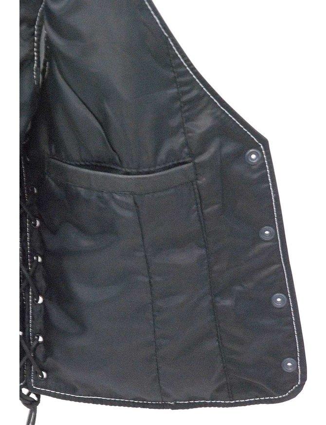 Jamin Leather Women's Premium White Stitch Low V-Neck Side Lace Leather Vest #VL16011GWK