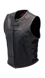 Daniel Smart Women's Triple Side Strap Leather Club Vest w/No Collar & 1 Piece Back #VL200K