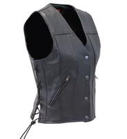 Women's Dual CCW Pocket Side Lace Naked Leather Vest #VL2050LK