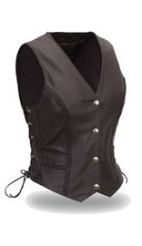 Black Side Lace Braid Trim Women's Vest Special #VL222SP