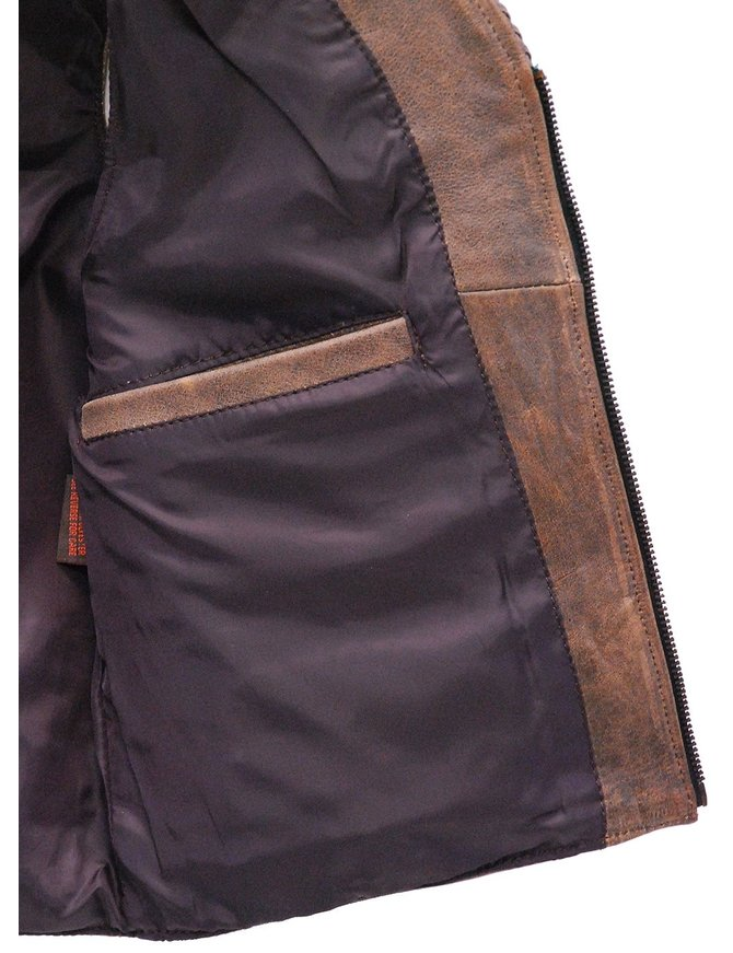 Unik Women's Vintage Brown Braid Trim Leather Zip Vest #VL2616ZN