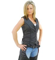 Milwaukee Women's Micro Braid Long Leather Vest #VL2673LBK
