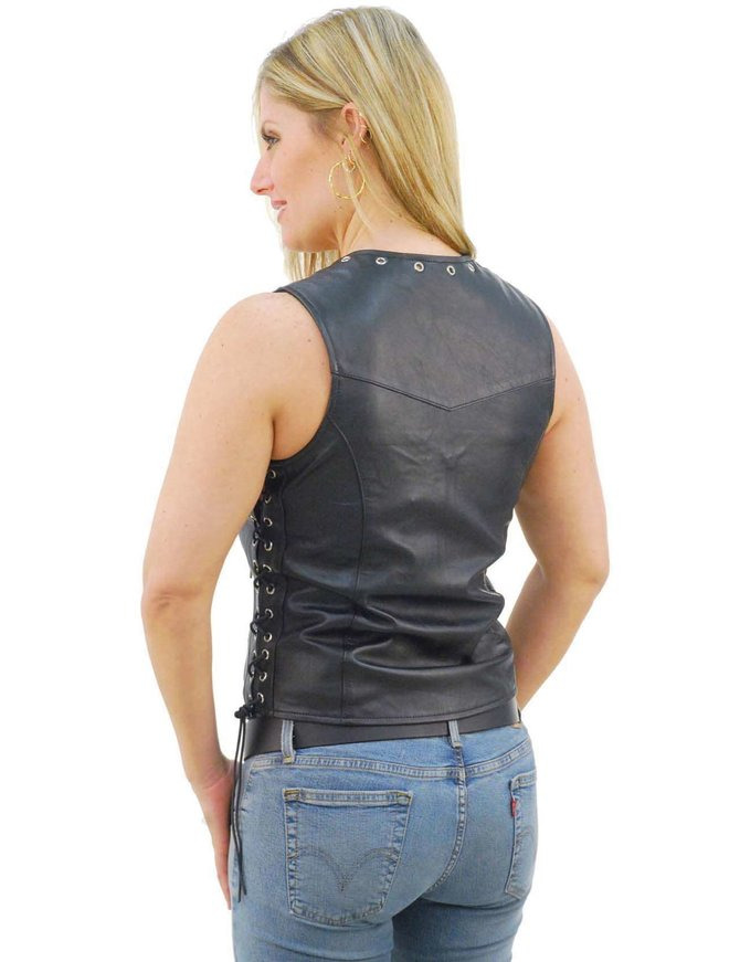 Unik Eyelet Trim Zip Front Leather Vest for Women #VL2682ELZK