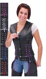 Jamin Leather Black Leather Vest w/Custom Color Corset Lacing #VL2687LLK