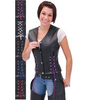 Jamin Leather Black Leather Vest w/Custom Color Corset Lacing #VL2687LLK