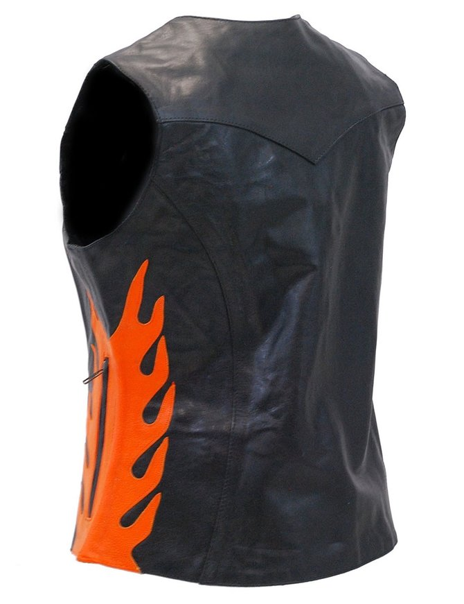 Harley Orange Flame Premium Leather Vest for Women #VL269916F