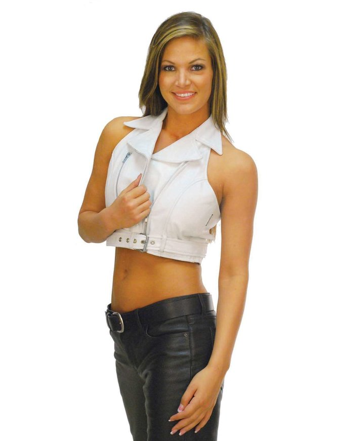 Jamin Leather White Leather Vest - Motorcycle Halter Top #VL3009W