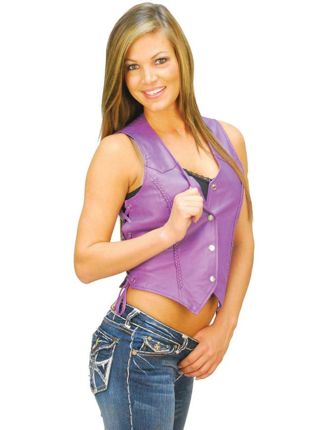Women's Purple Leather Vest w/Side Lace #VL3392LPURP