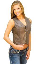 Side Lace Rich Brown Leather Vest for Women #VL383LN