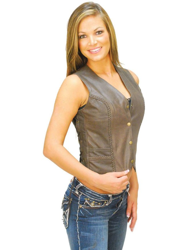 Side Lace Rich Brown Leather Vest for Women #VL383LN