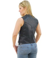Jamin Leather Side Lace Women's Leather Vest - SPECIAL #VL411LSP
