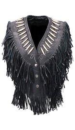 Genuine Bone Studded Fringe Leather Vest #VL4253FBSK