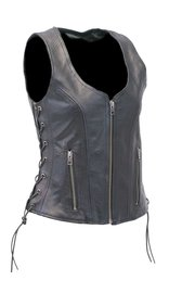 Unik Black Women's Dual CCW Pocket Side Lace Leather Zip Vest #VL4531GLK