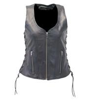 Unik Black Women's Dual CCW Pocket Side Lace Leather Zip Vest #VL4531GLK