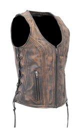 Women's Vintage Brown Dual CCW Pocket Side Lace Leather Zip Vest #VL4532GLN