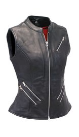 First MFG Long 6 Zipper Naked Leather CCW Pocket Vest #VL512ZZK