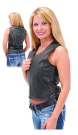 Women's Studded Motorcycle Vest w/Zipper #VL6008ZSK (S-XL)