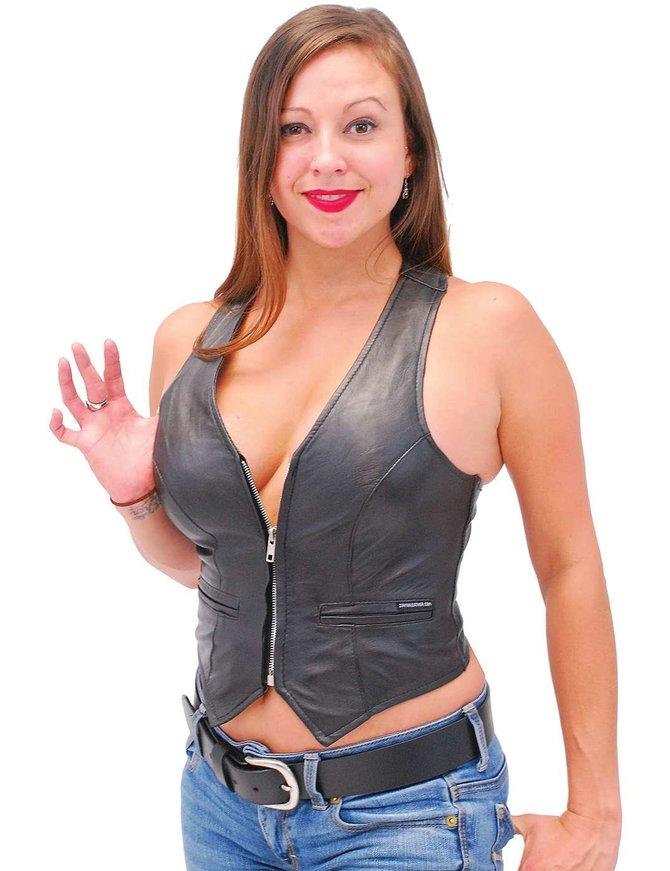 Jamin Leather Lambskin Leather Vest w/Pockets & Sport Back #VL677Z