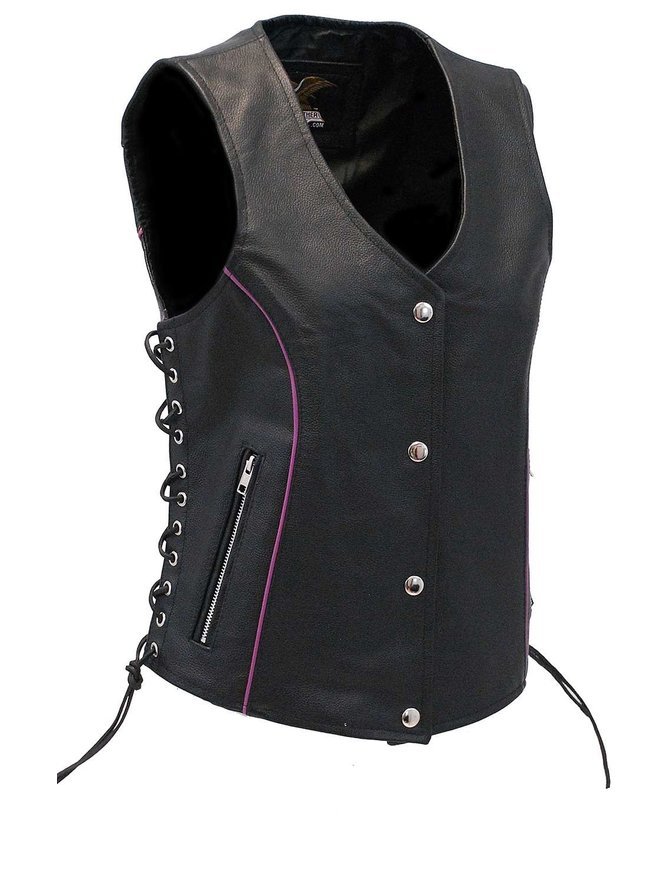 Jamin Leather Women's Purple Piping Side Lace Leather CCW Pocket Vest #VL68501GPU