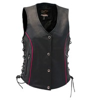Jamin Leather Women's Hot Pink Piping Side Lace Leather CCW Pocket Vest #VL68502GHP
