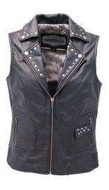 Unik Women's Black Leather Motorcycle Vest with Studded Collar #VL6876ZSK