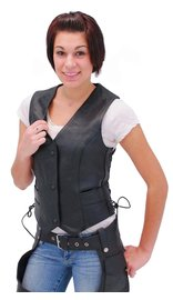 Unik Black Side Lace Women's Leather Vest #VL698LK (S-L)
