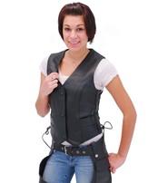 Unik Black Side Lace Women's Leather Vest #VL698LK