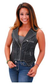 Jamin Leather Women's Naked Leather VZip Vest w/White Stitching #VL907ZWK