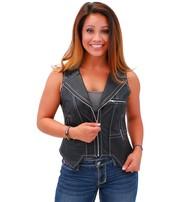 Jamin Leather Women's Naked Leather VZip Vest w/White Stitching #VL907ZWK