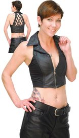 Women's Leather Vest w/Collar & Braid Trim #VL928B
