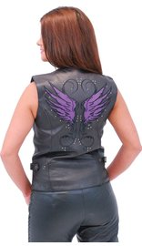 Purple Wings Leather Vest w/Studs for Women #VL9308PURP