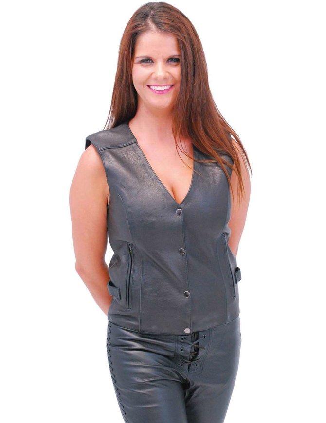 Purple Wings Leather Vest w/Studs for Women #VL9308PURP