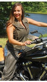 Jamin Leather Women's Rivet Trim Vintage Brown Leather Motorcycle Zip Vest #VLA2037RDN (S-3X)