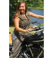 Jamin Leather Women's Rivet Trim Vintage Brown Leather Motorcycle Zip Vest #VLA2037RDN